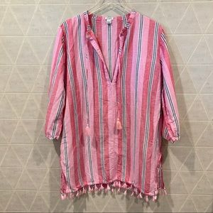 J. Crew striped tassel pink tunic cover up XL